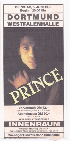 Prince 06/05/1990 concert ticket (apoplife.nl)