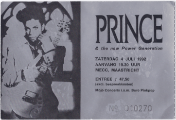 Prince & The NPG 07/04/1992 concert ticket (apoplife.nl)