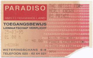 Prince Paradiso 1 03/25/1995 concert ticket (apoplife.nl)