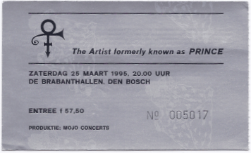 TAFKAP 03/25/1995 concert ticket (apoplife.nl)