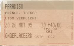 Prince Paradiso 2 03/26/1995 concert ticket (apoplife.nl)
