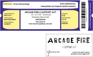 Arcade Fire 11/13/2007 concert ticket (apoplife.nl)