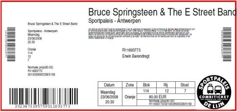 Bruce Springsteen 06/23/2008 concert ticket (apoplife.nl)