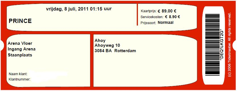 Prince 07/08/2011 concert ticket (apoplife.nl)