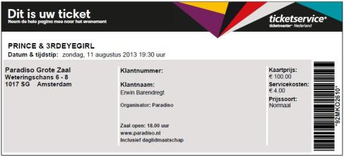 Prince 08/11/2011 (1) concert ticket (apoplife.nl)