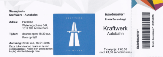 Kraftwerk 01/16/2015 concert ticket (apoplife.nl)