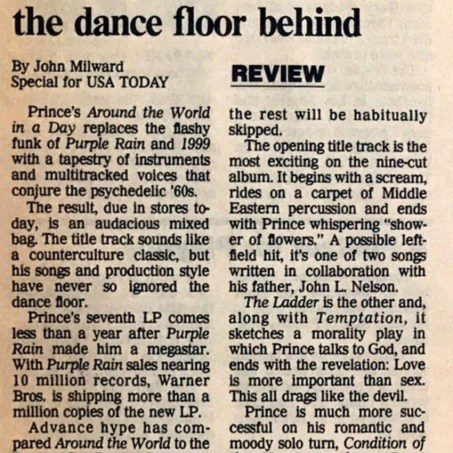 Prince And The Revolution - Around The World In A Day review - USA Today 04/22/1985 (Prince: The Dutch Experience - Edgar Kruize)