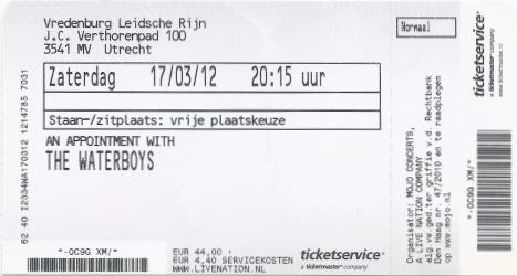 The Waterboys 17-03-2012 concertkaartje (apoplife.nl)