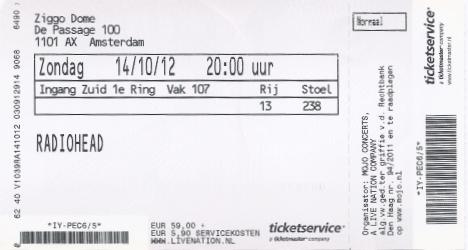 Radiohead 14-10-2012 concertkaartje (apoplife.nl)