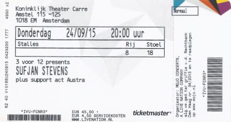 Sufjan Stevens 24-09-2015 concertkaartje (apoplife.nl)