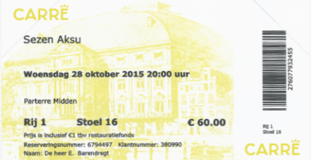 Sezen Aksu 28-10-2015/15-02-2016 concertkaartje (apoplife.nl)