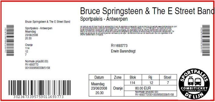 Bruce Springsteen 23-06-2008 concertkaartje (apoplife.nl)
