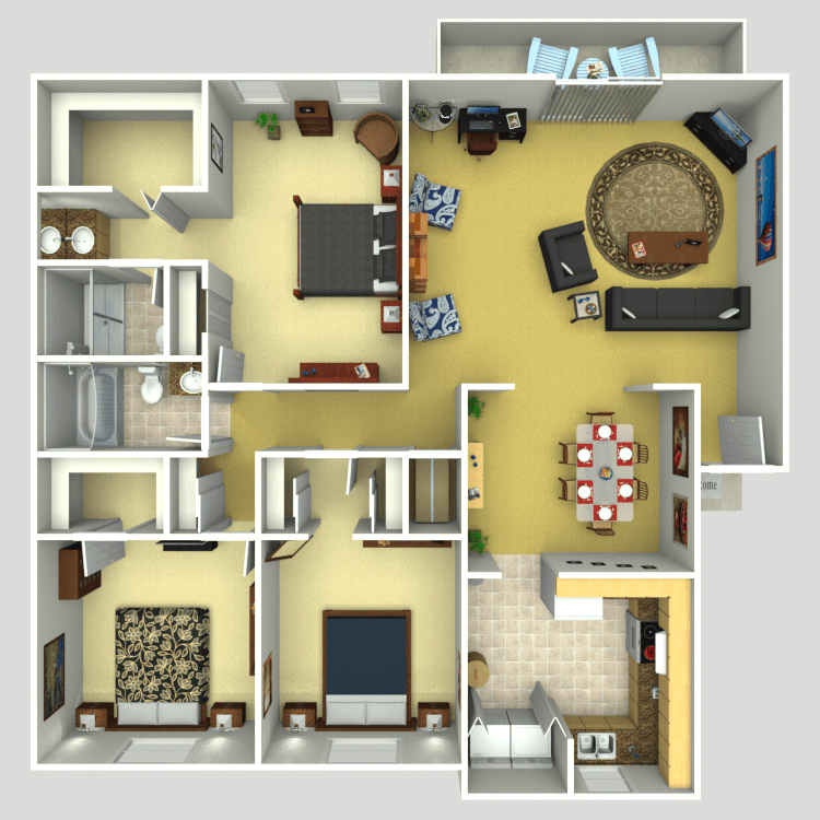 3 Bedroom 2 Bath Apartments