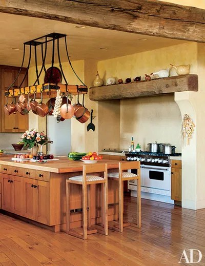 pot racks for kitchen amazon tables the ultimate in chic organization architectural mica ertegun decorated sonoma valley california home of joan and sandy weill rack was designed by suzanne tucker s previous