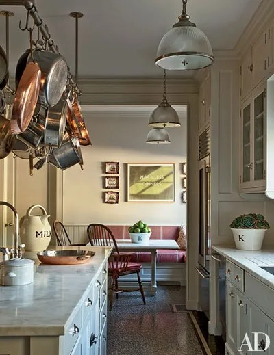 pot racks for kitchen stainless the ultimate in chic organization architectural a rack and pendant lights by ann morris antiques were installed over counters of calacatta sponda marble los angeles home renovated