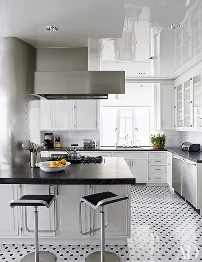 black and white tile kitchen quartz floors that make a statement architectural digest architect mark ferguson devised the marbleandgranite floor in this new york penthouse decorated by pamplemousse
