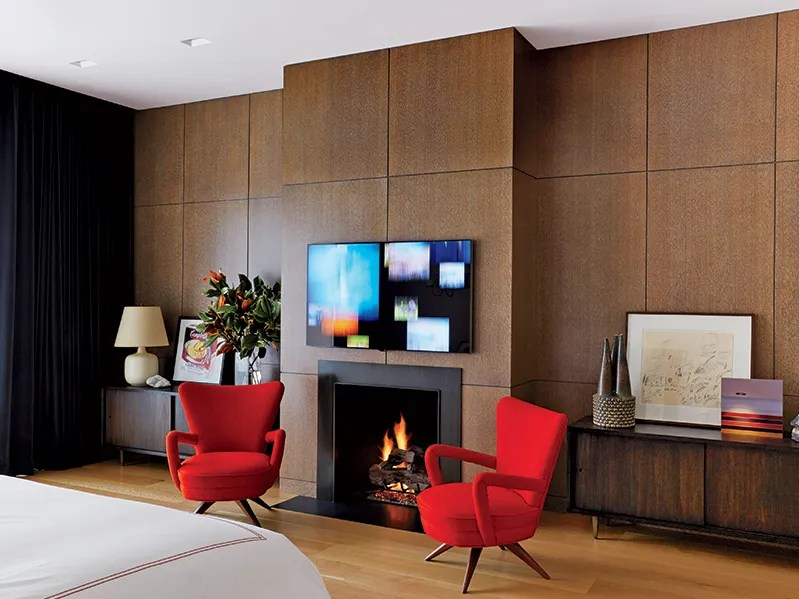 four club chairs in living room tile designs for floors 10 rooms that take wood paneling to the next level architectural