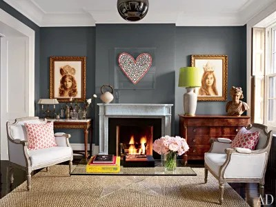 living room wall colors with grey furniture brown leather sofa decorating ideas gray bedroom paint color architectural digest decorator david flint wood painted the of actress brooke shields s new york townhouse in benjamin moore cozy chelsea