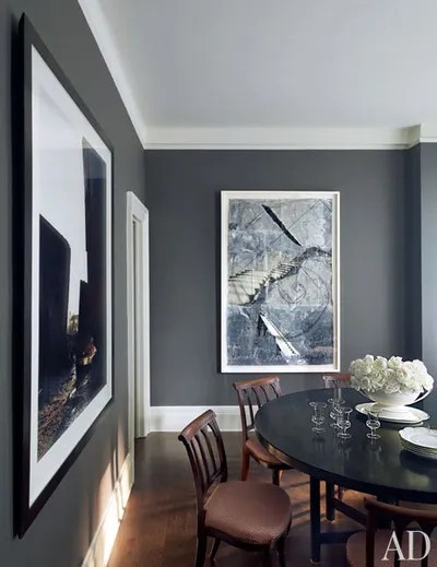 living room designs with grey walls plant for gray bedroom paint color ideas architectural digest american fashion designer kasper has long been an avid collector of contemporary art the steel his manhattan apartment s dining