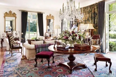 ralph lauren living room furniture luxury design pictures 29 oriental rugs for every space architectural digest embellishing one end of the s bedford new york home are a victorian cut glass chandelier george ii gilt wood mirror