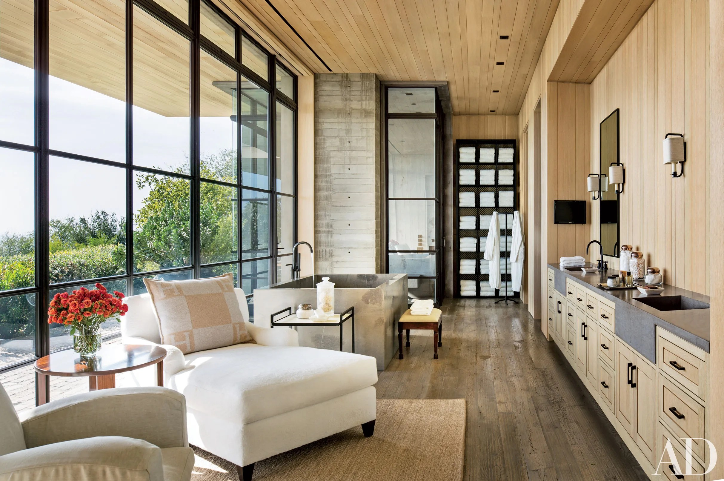 upholstered slipper chair crate and barrel dining cushions 13 luxurious bathroom design ideas photos   architectural digest