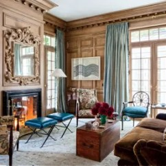 Fireplace For Living Room Extension Ideas And Designs Architectural Digest Rift Sawn White Oak Paneling Lines The Library Of A California Home Designed By Miles Redd Stools In Moore Giles Leather Stand Before