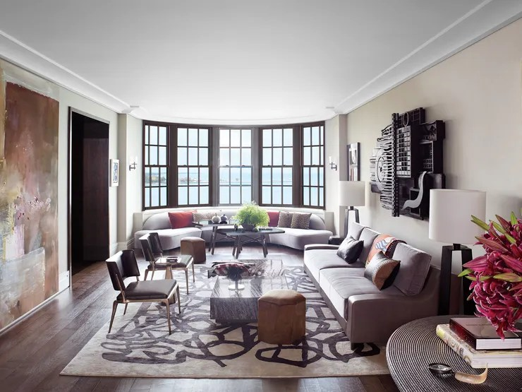chairs and ottomans upholstered patio chair strap repair kit holly hunt's modern chicago apartment on gold coast | architectural digest