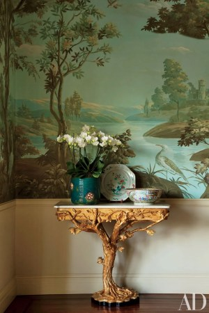 floral wall dining inspiration rooms scenic architecturaldigest mural paintable architectural angeles los digest chinese bloom paper decorating painted decorated remakes