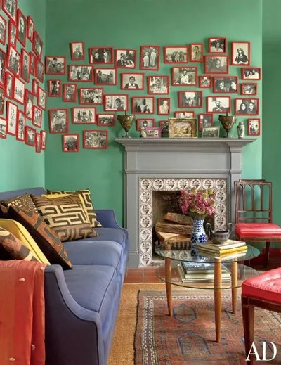 decorating living room walls with family photos comfortable ideas 16 photo display for pictures architectural digest rubyred frames instantly pop against the teal of topfloor office in music consultant andrea
