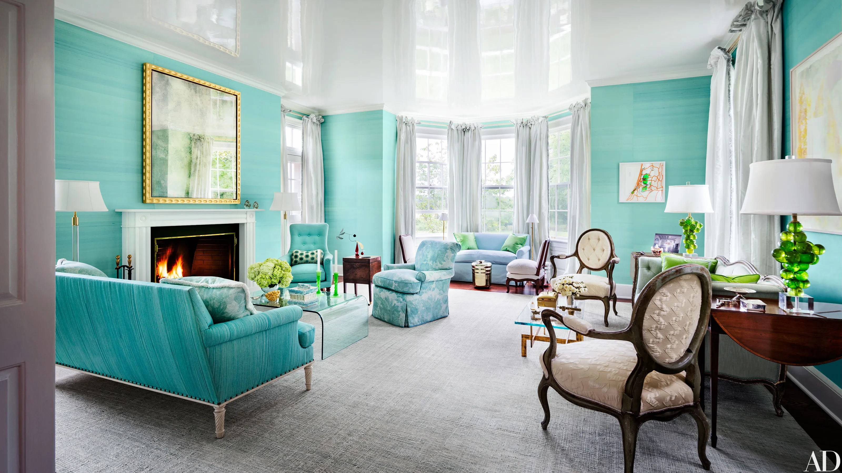 house of turquoise living room built ins diy 33 spaces for jewel tone paint color inspiration architectural digest