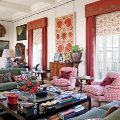 Window Treatment Ideas For Living Room Theaters Portland 12 Stylish And Curtain Designs In The Drawing Of British Gallerist Adrian Sassoon S English Country Retreat A Suzani Panel From Turkmenistan Hangs Between Windows Curtained