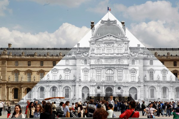 Louvre Glass Pyramid Covered Street Artist Jr