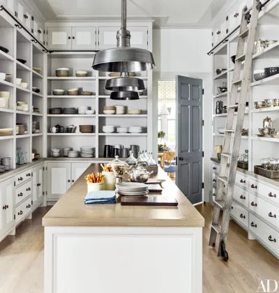 kitchen pantry ideas corner table with bench for a seriously stylish and organized space in the of bridgehampton new york home designed by steven gambrel whiteoak ladder