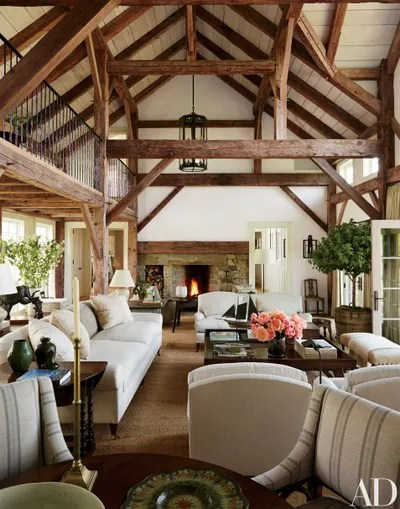 rustic living rooms narrow room design 13 utterly inviting ideas architectural digest reclaimed timber beams accent the barnlike common at lynn and sir evelyn de rothschilds marthas