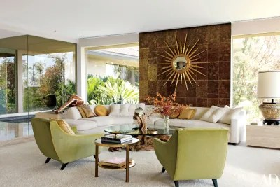 modern living room setup sets 11 midcentury rooms architectural digest a sunburst mirror from jf chen accents wall of mica tile in photographer steven meisel s los angeles decorated by brad dunning