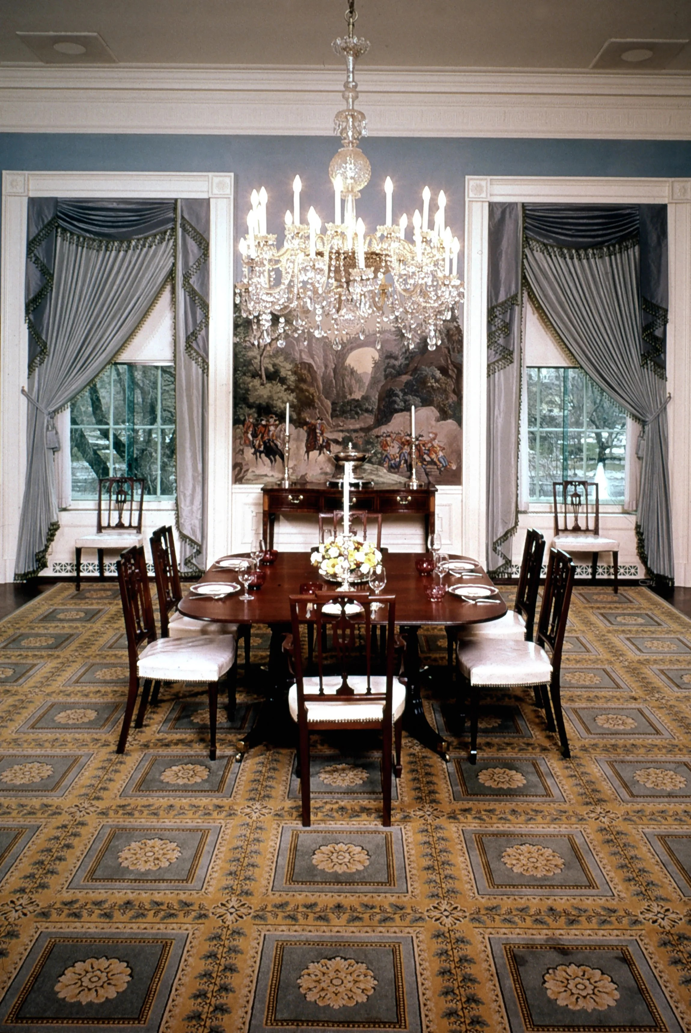 President Nixons White House Dining Room Was the Picture of Sophistic  Architectural Digest