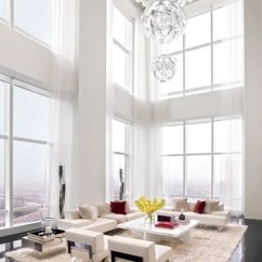 All White Living Room Ideas Carpets India 13 Rooms Architectural Digest In A New York Penthouse By Oda Architecture Luceplan Usa Light Fixture Shimmers The Double Height Which Is Painted Benjamin Moore