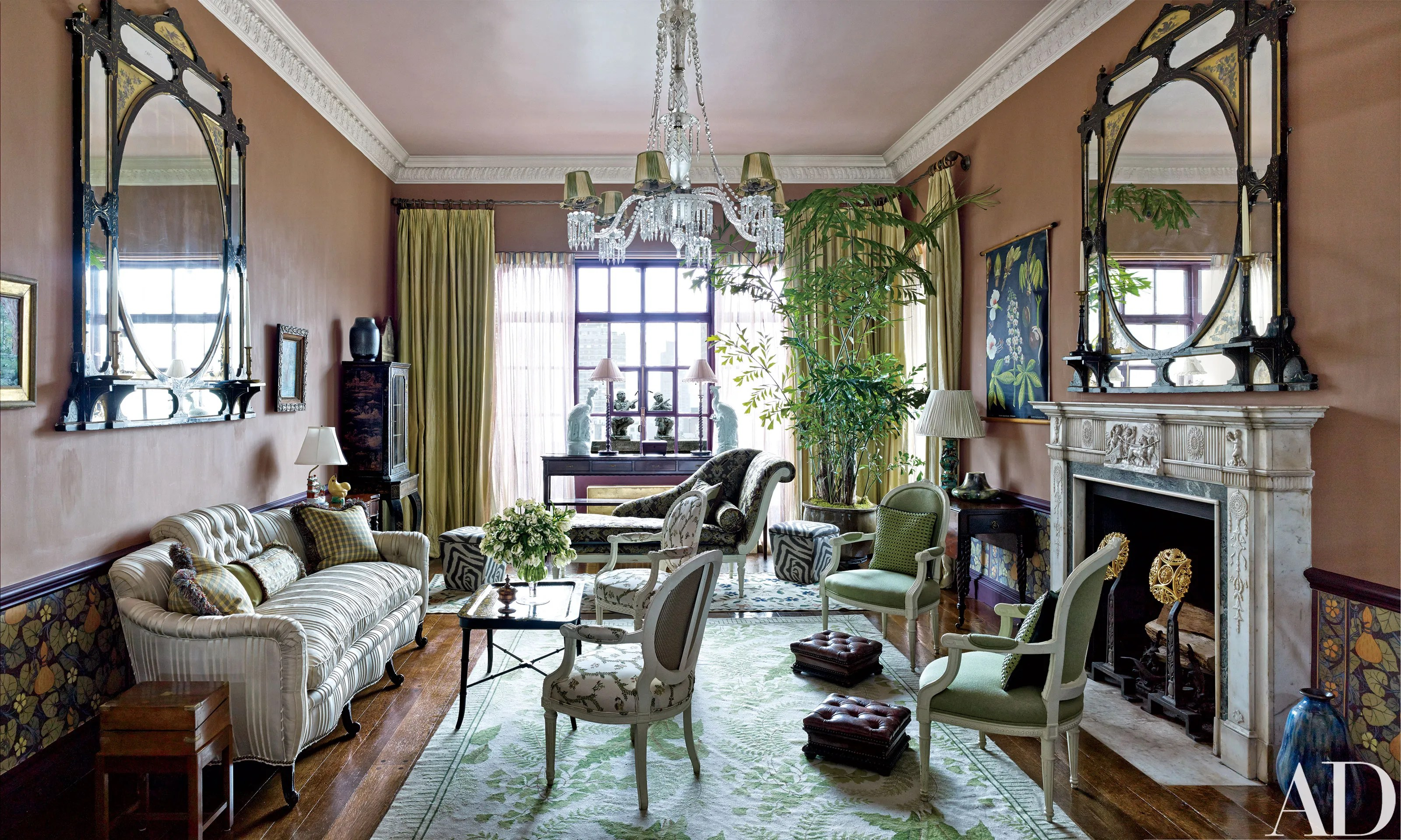 designer mirrors for living rooms simple christmas decorations ideas room look inside the manhattan penthouse of fashion ...