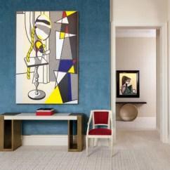 Living Room Console Luxury Pics 25 Ways To Decorate A Table Architectural Digest The S 1977 Roy Lichtenstein Canvas Hangs Above An Herve Van Der Straeten