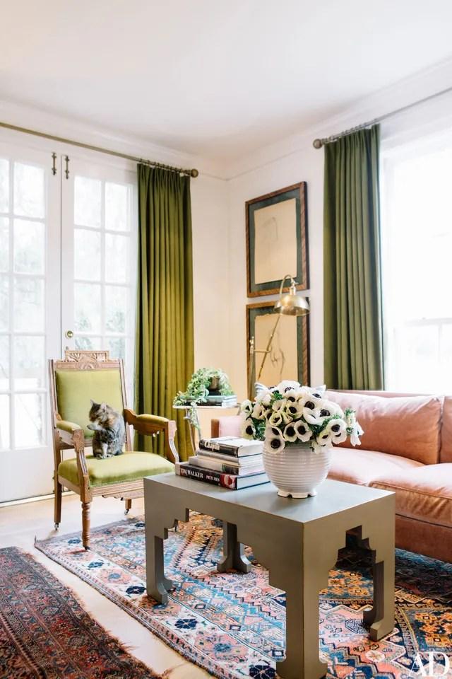 emerald green velvet chair diy glider rocking cushions tour karen elson's house in nashville photos | architectural digest