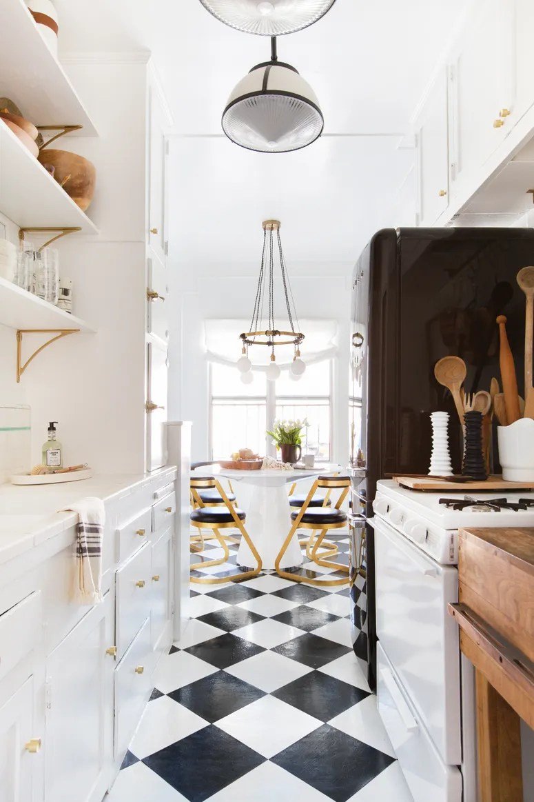 linoleum kitchen flooring epoxy countertops a clever tile solution architectural digest 50 weekend friendly fix for ugly rental floors
