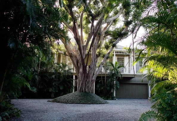 Image may contain Housing House Villa Building Outdoors Garden Arbour Tree and Plant