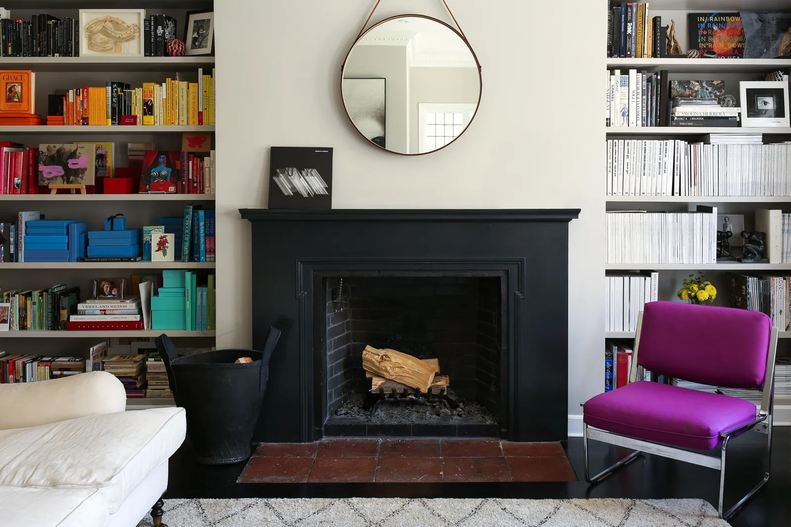 design small living room with fireplace end table decorating ideas 8 that will maximize your space bookshelves flanking a in lauren goodman s
