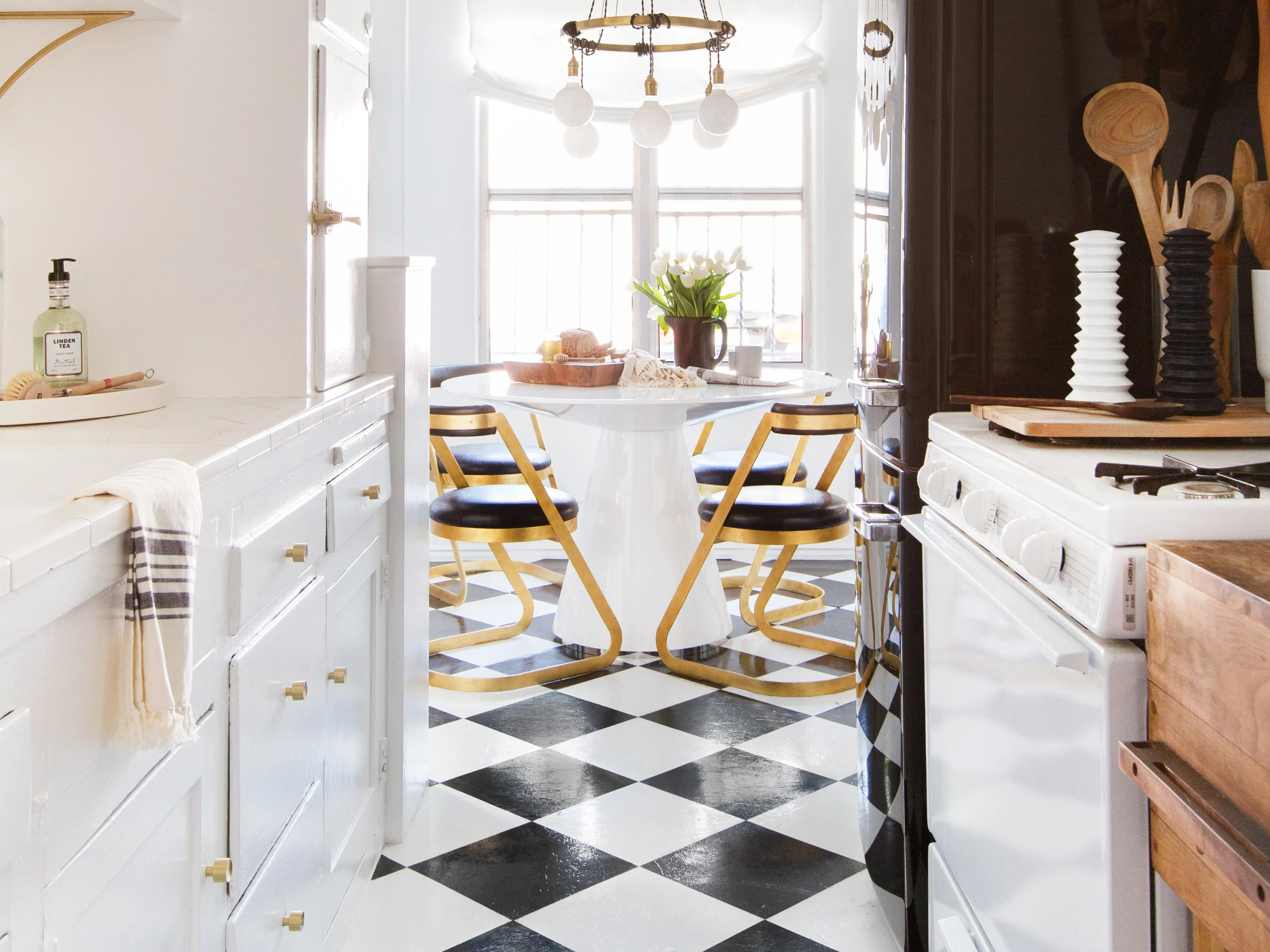 kitchen rental brizo faucets a clever tile solution architectural digest 50 weekend friendly fix for ugly floors