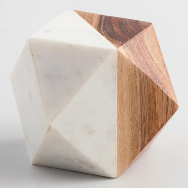 Wood-and-marble geometric paperweight