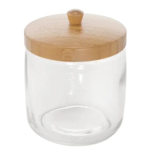 glass canister with wood top