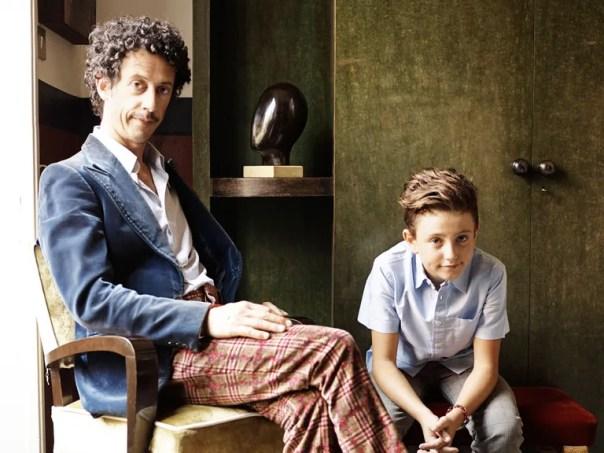 Stefano Vitali of Avanguardia Antiquaria and his son Niccolò in their Milan apartment.