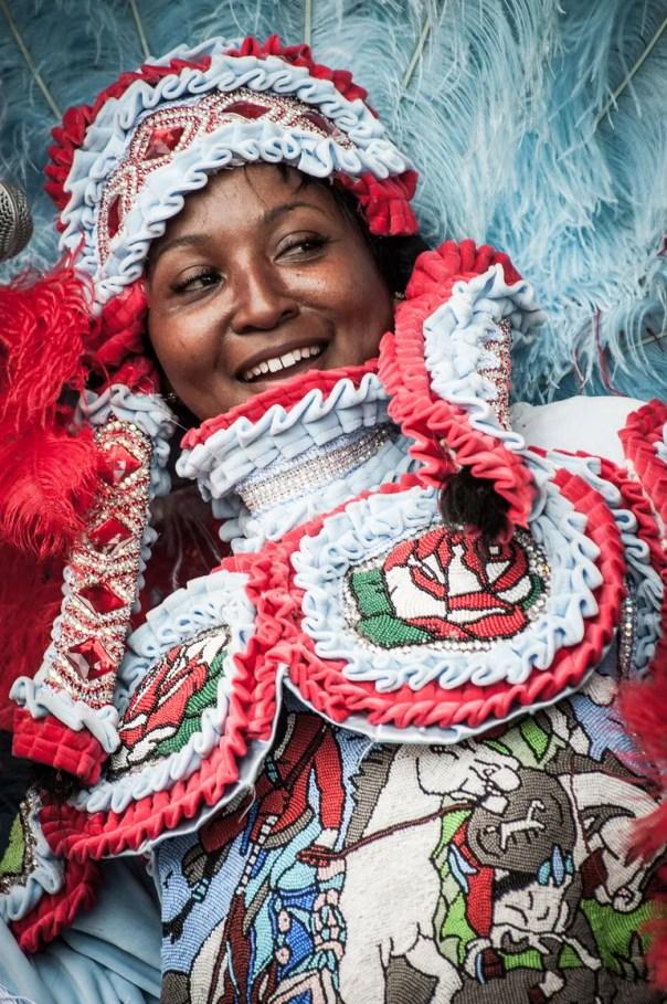 A costumed performer at Mardi Gras.