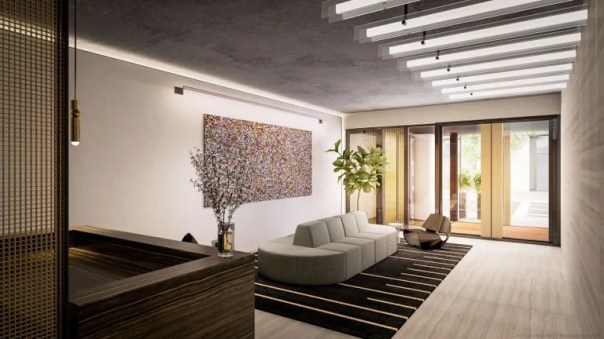 A rendering of the lobby at 196 Orchard Street.