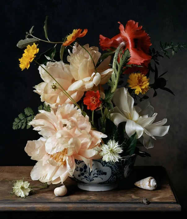 Sharon Core takes an art-historical approach to photography. In 1782, 2011, she recreates an 18th-century still-life painting of flowers.